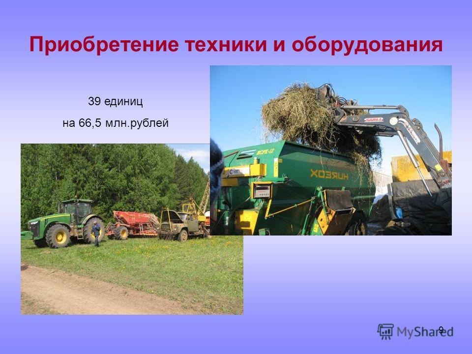 9 Приобретение техники и оборудования 39 единиц на 66,5 млн.рублей