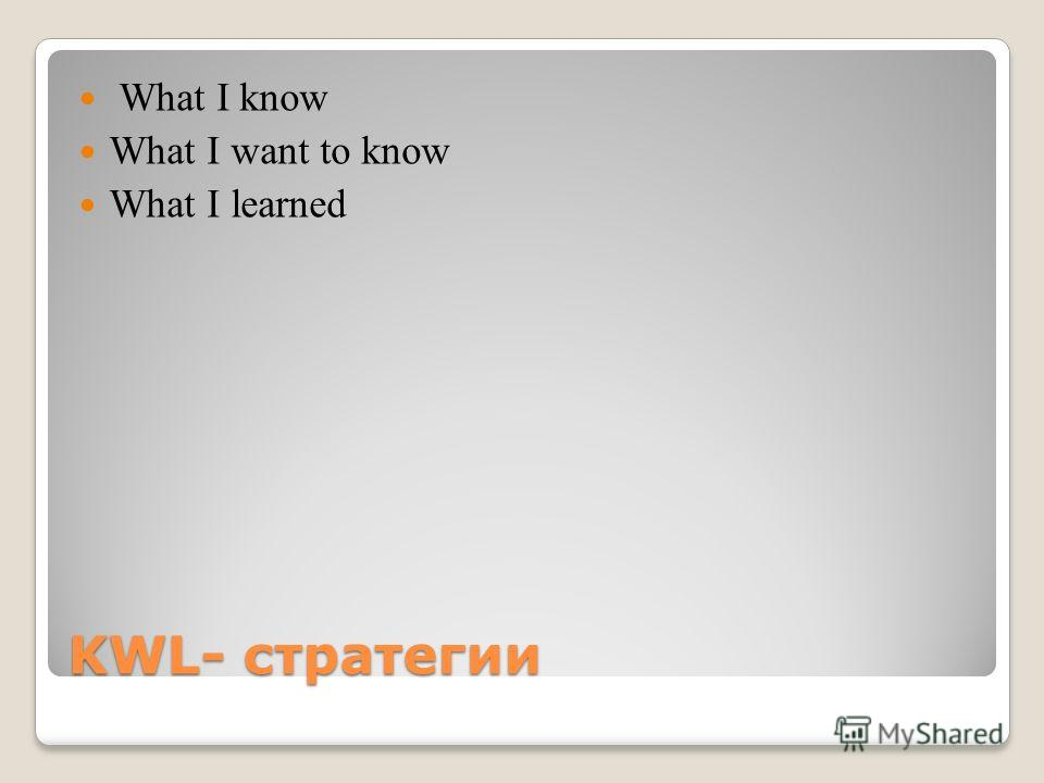 KWL- стратегии What I know What I want to know What I learned