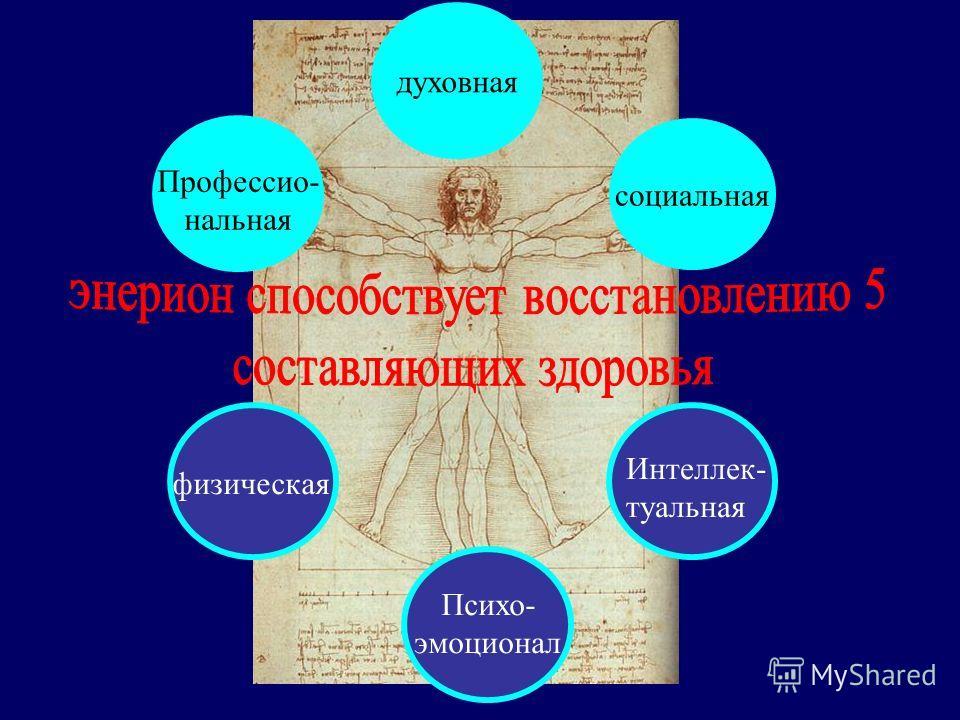 Профессио- нальная духовная социальная физическая Психо- эмоционал Интеллек- туальная