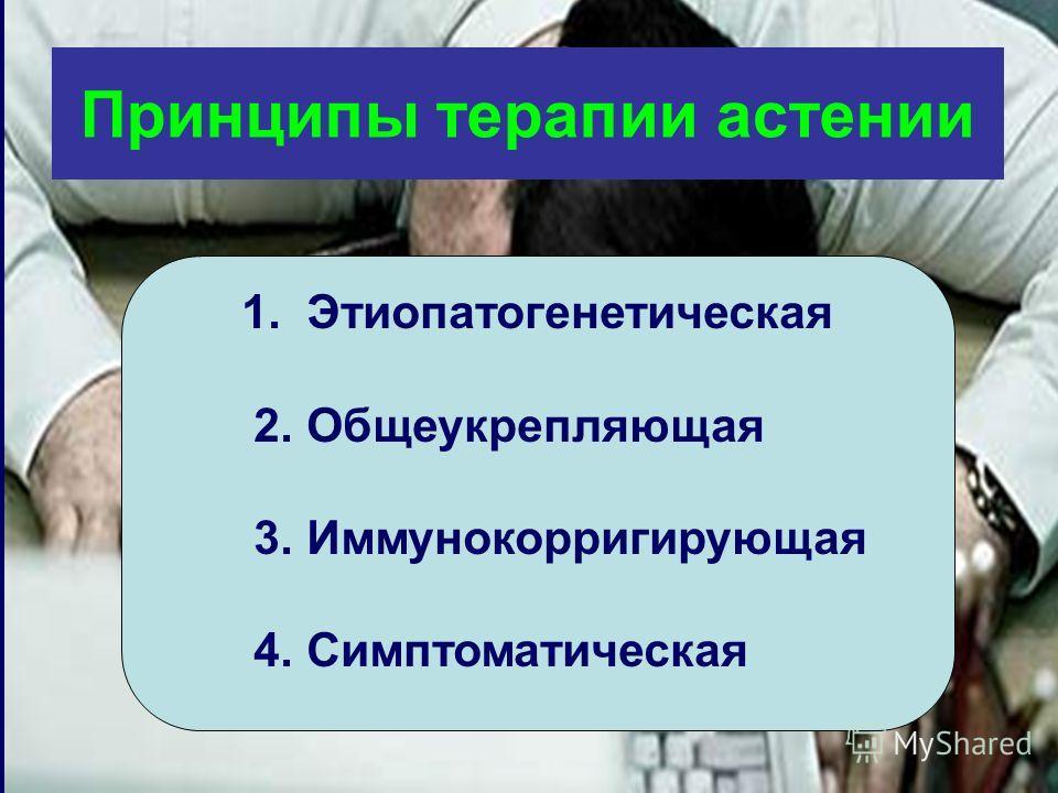 Принципы терапии астении 1. Этиопатогенетическая 2. Общеукрепляющая 3. Иммунокорригирующая 4. Симптоматическая