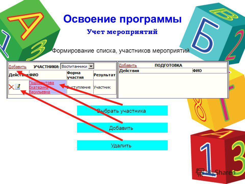 Учет мероприятий Освоение программы Выбрать участника Удалить Формирование списка, участников мероприятий Добавить