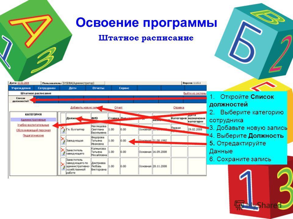 Штатное расписание Освоение программы 1.Откройте Список должностей 2.Выберите категорию сотрудника 3. Добавьте новую запись 4. Выберите Должность 5. Отредактируйте Данные 6. Сохраните запись