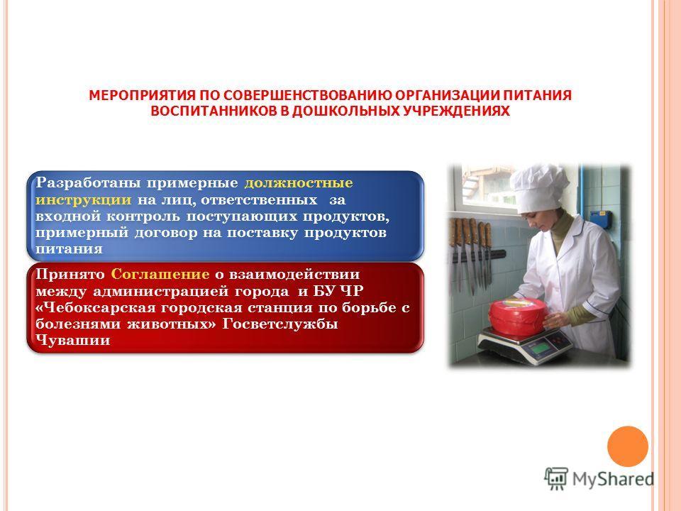 МЕРОПРИЯТИЯ ПО СОВЕРШЕНСТВОВАНИЮ ОРГАНИЗАЦИИ ПИТАНИЯ ВОСПИТАННИКОВ В ДОШКОЛЬНЫХ УЧРЕЖДЕНИЯХ Разработаны примерные должностные инструкции на лиц, ответственных за входной контроль поступающих продуктов, примерный договор на поставку продуктов питания