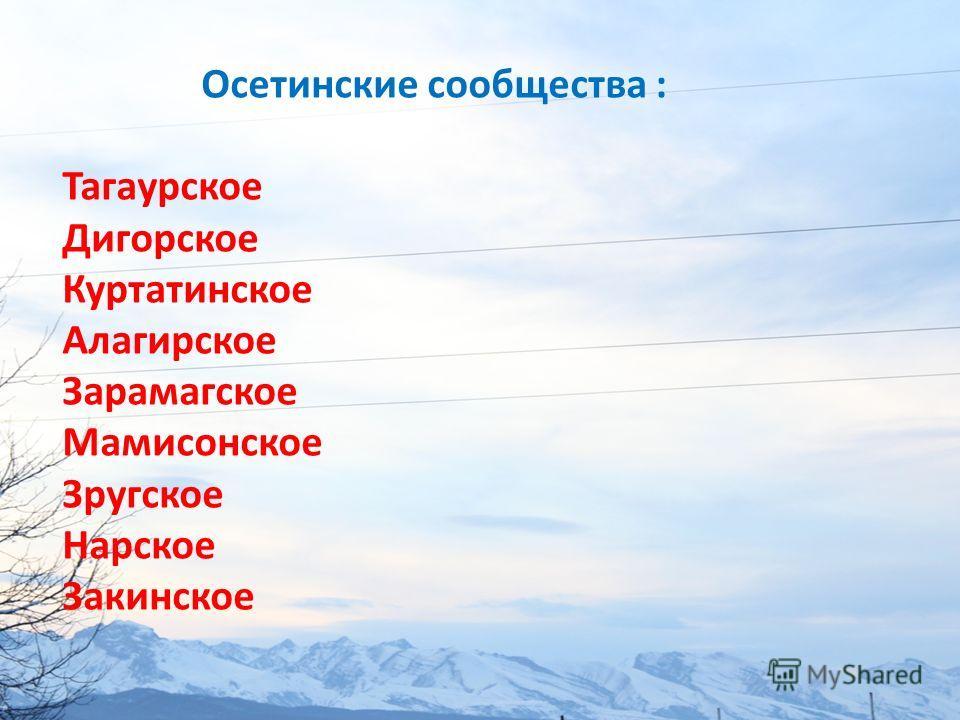 Осетинские сообщества : Тагаурское Дигорское Куртатинское Алагирское Зарамагское Мамисонское Зругское Нарское Закинское