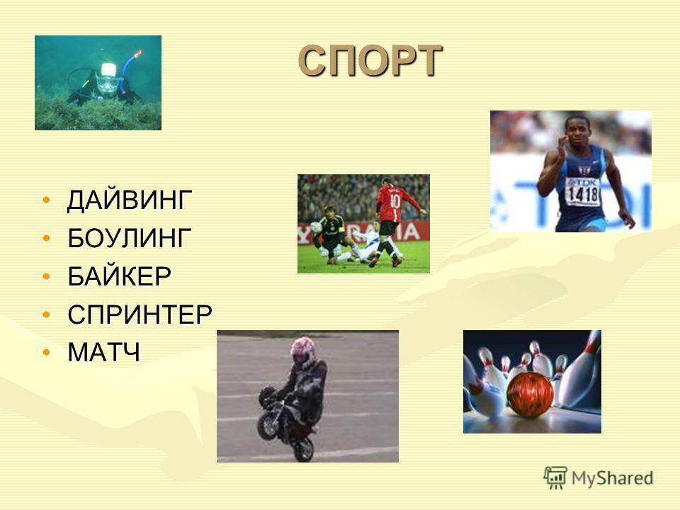 СПОРТ ДАЙВИНГ БОУЛИНГ БАЙКЕР СПРИНТЕР МАТЧ