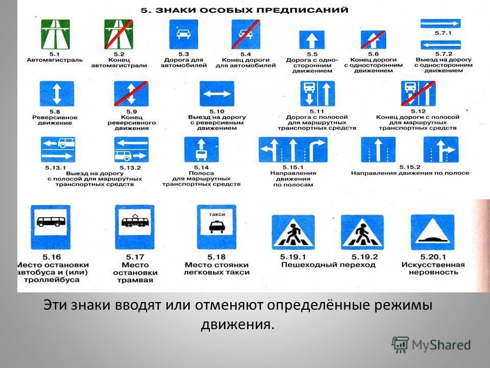Эти знаки вводят или отменяют определённые режимы движения.