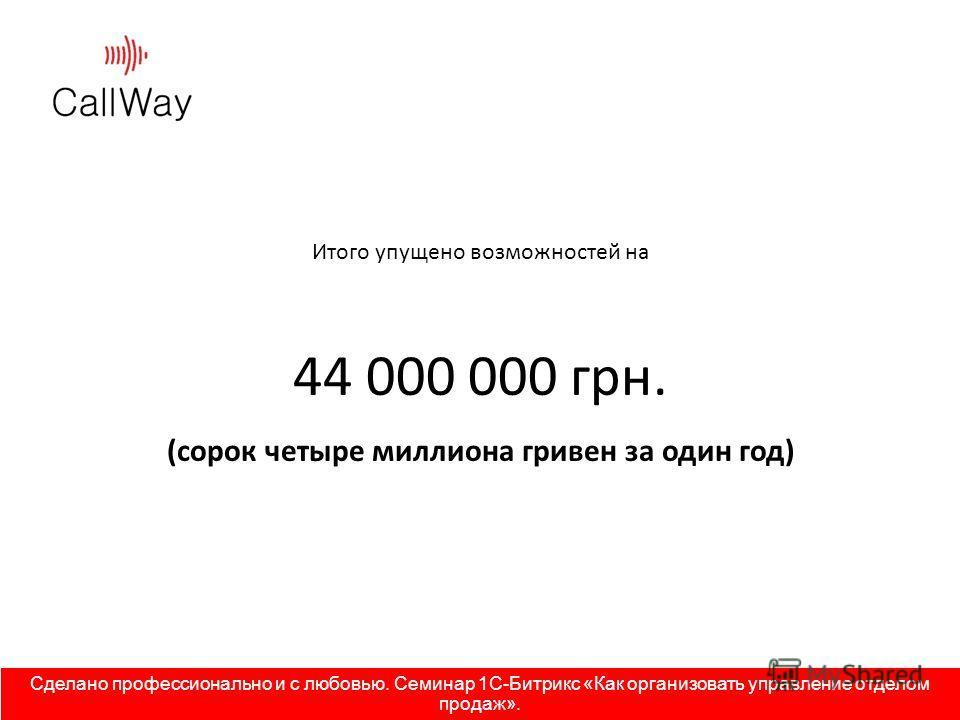 Итого упущено возможностей на 44 000 000 грн. (сорок четыре миллиона гривен за один год) Сделано профессионально и с любовью. Семинар 1С-Битрикс «Как организовать управление отделом продаж».