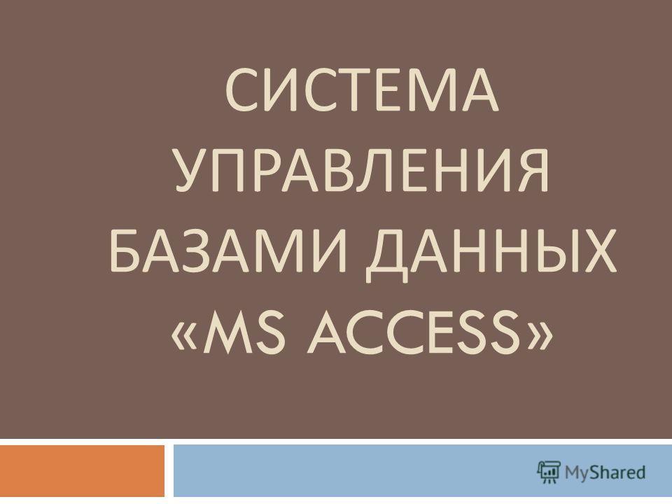 СИСТЕМА УПРАВЛЕНИЯ БАЗАМИ ДАННЫХ «MS ACCESS»