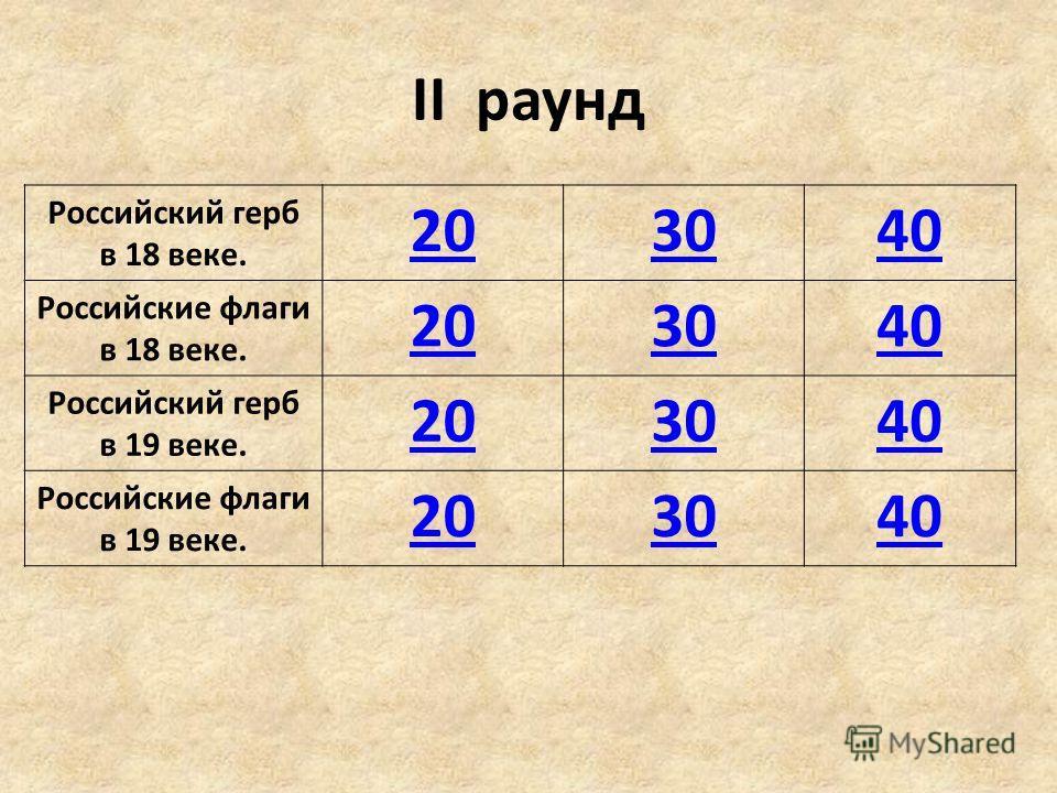 II раунд Российский герб в 18 веке. 203040 Российские флаги в 18 веке. 203040 Российский герб в 19 веке. 203040 Российские флаги в 19 веке. 203040