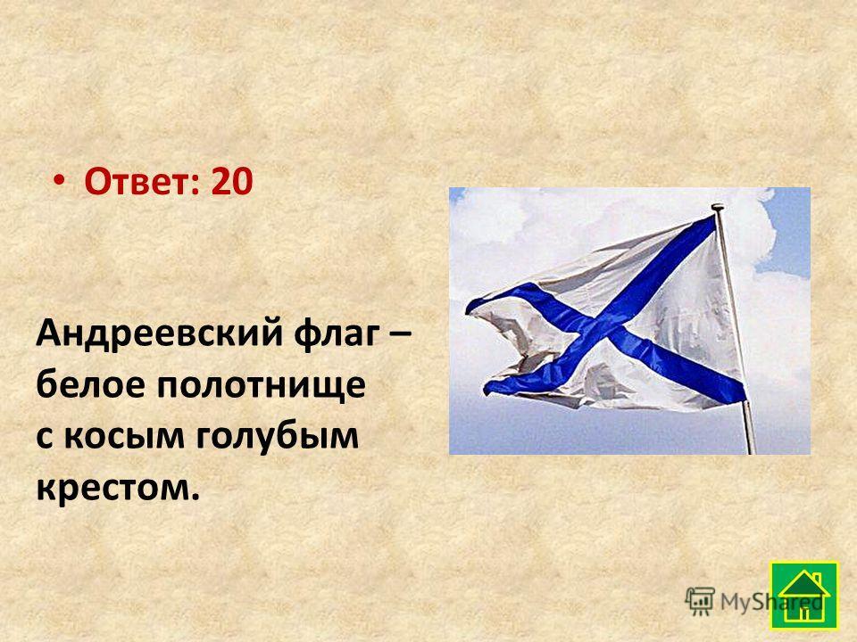 Ответ: 20 Андреевский флаг – белое полотнище с косым голубым крестом.
