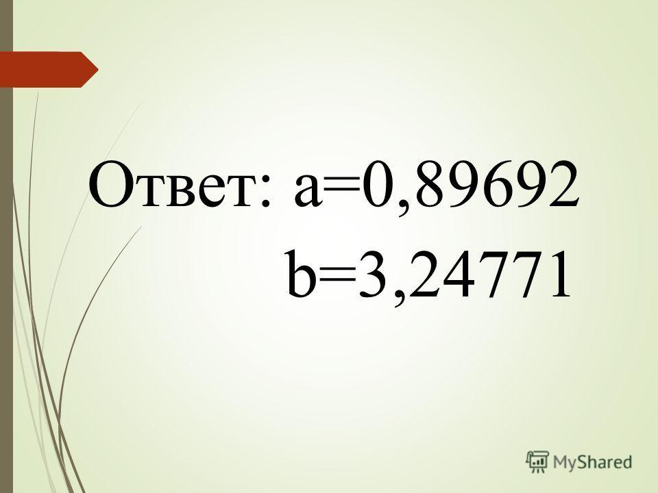 Ответ: a=0,89692 b=3,24771