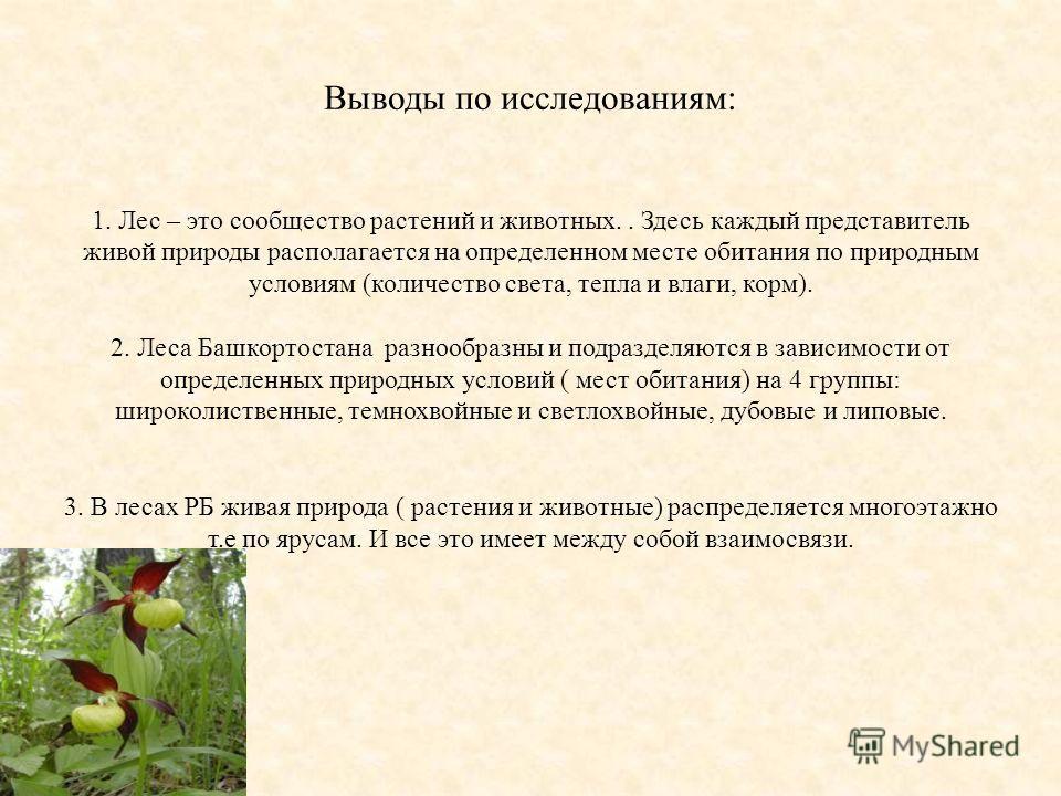 Выводы по исследованиям: 1. Лес – это сообщество растений и животных.. Здесь каждый представитель живой природы располагается на определенном месте обитания по природным условиям (количество света, тепла и влаги, корм). 2. Леса Башкортостана разнообр