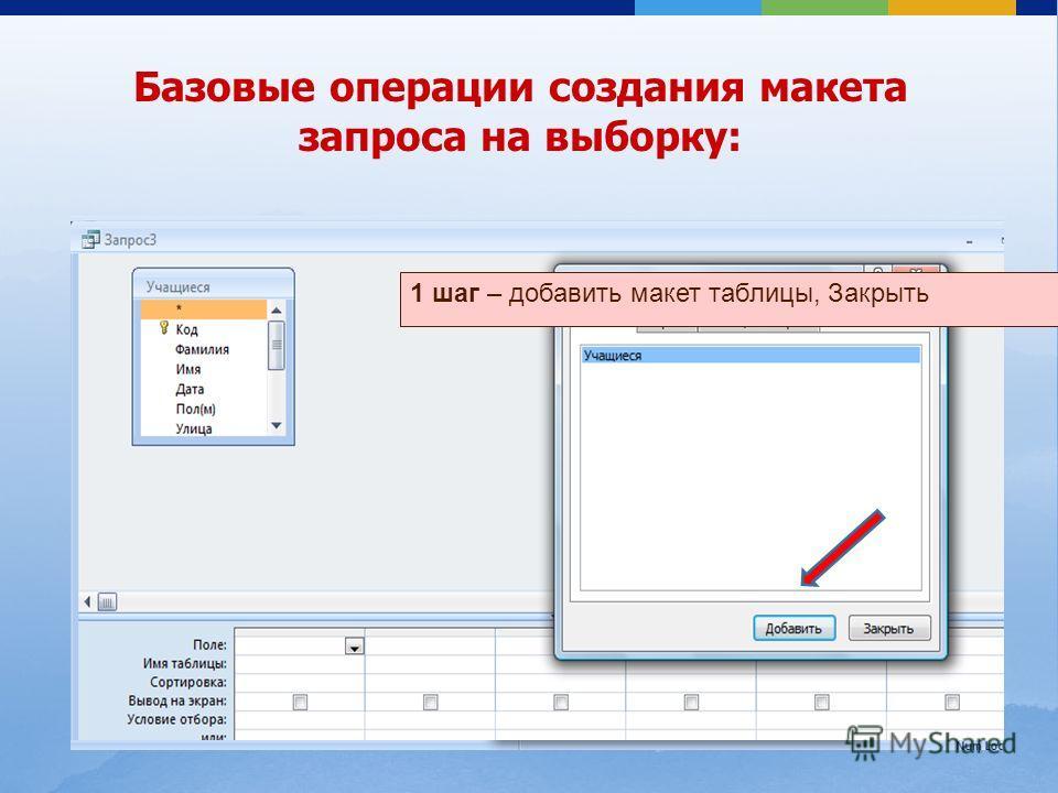 1 шаг – добавить макет таблицы, Закрыть