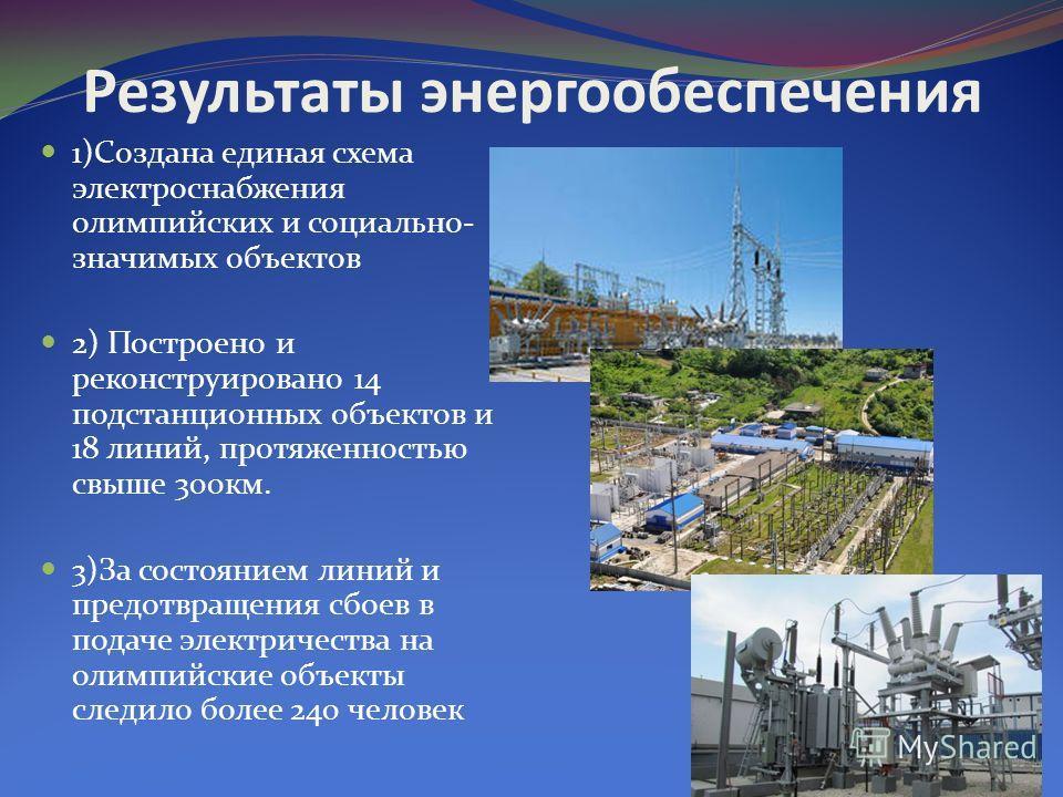 Результаты энергообеспечения 1)Создана единая схема электроснабжения олимпийских и социально- значимых объектов 2) Построено и реконструировано 14 подстанционных объектов и 18 линий, протяженностью свыше 300км. 3)За состоянием линий и предотвращения