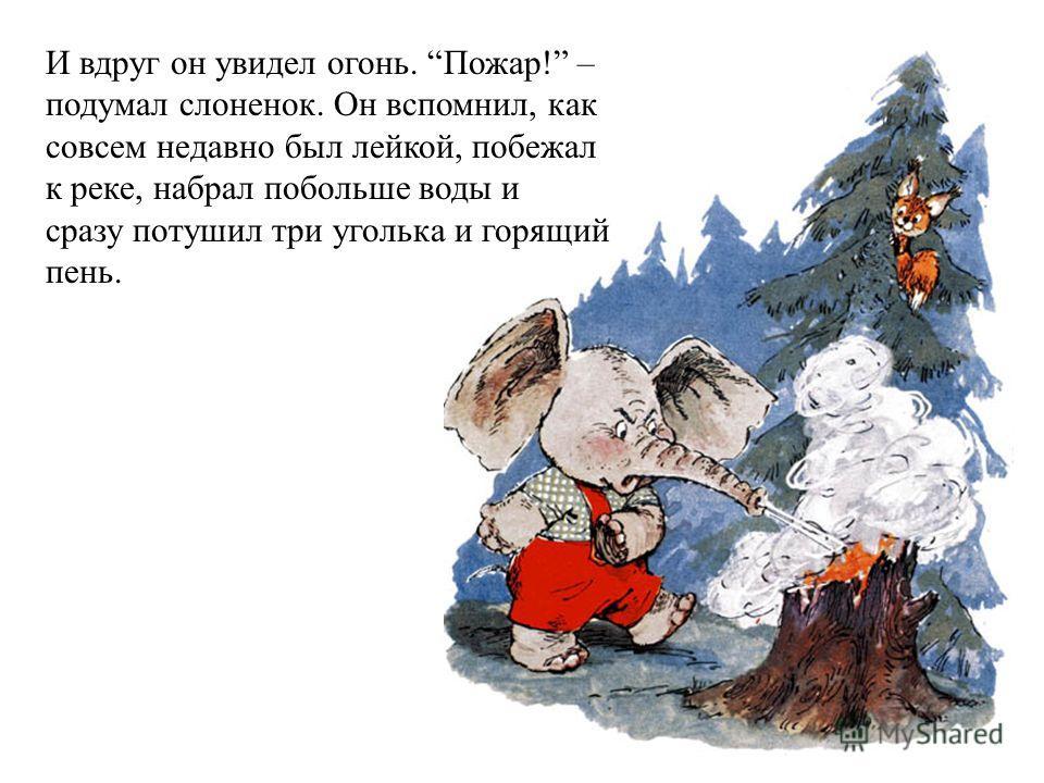 И вдруг он увидел огонь. Пожар! – подумал слоненок. Он вспомнил, как совсем недавно был лейкой, побежал к реке, набрал побольше воды и сразу потушил три уголька и горящий пень.