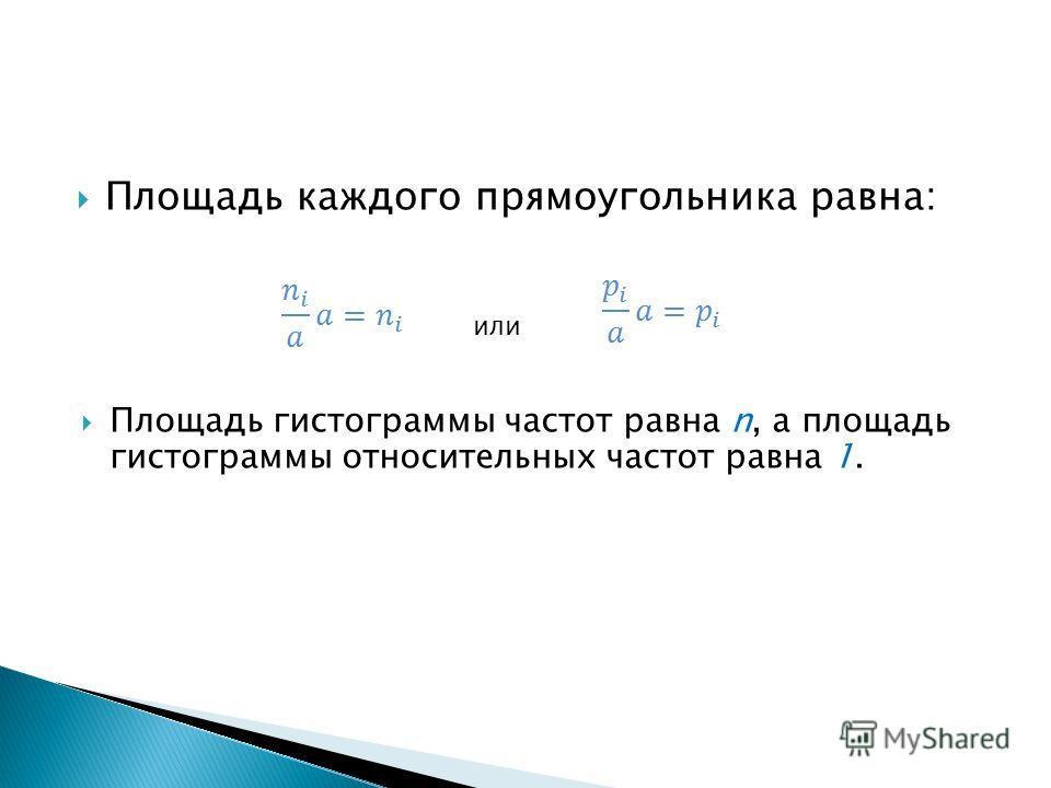 Площадь каждого прямоугольника равна: или Площадь гистограммы частот равна n, а площадь гистограммы относительных частот равна 1.