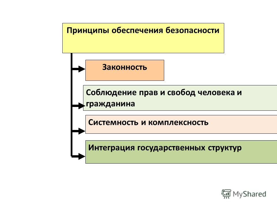 Принципы обеспечения безопасности Законность Системность и комплексность Соблюдение прав и свобод человека и гражданина Интеграция государственных структур