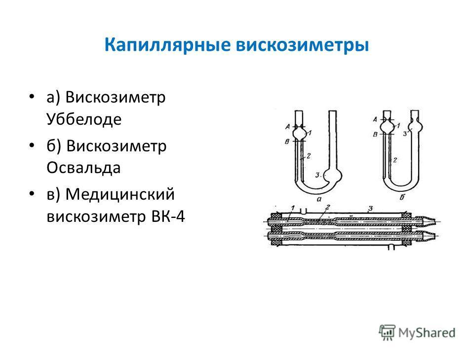 Капиллярные вискозиметры а) Вискозиметр Уббелоде б) Вискозиметр Освальда в) Медицинский вискозиметр ВК-4