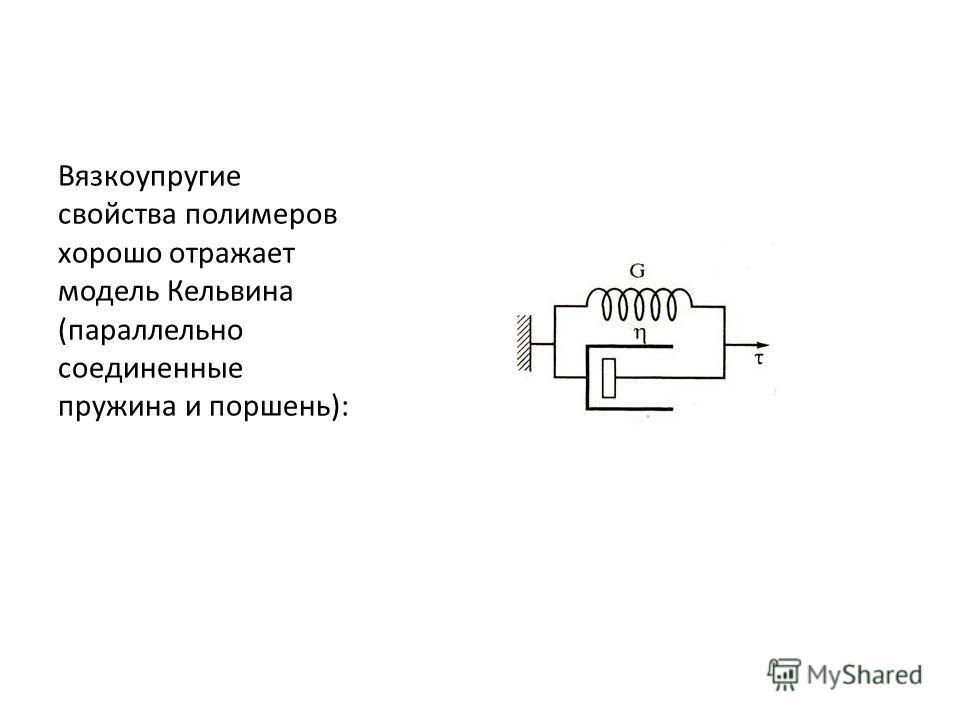 Вязкоупругие свойства полимеров хорошо отражает модель Кельвина (параллельно соединенные пружина и поршень):
