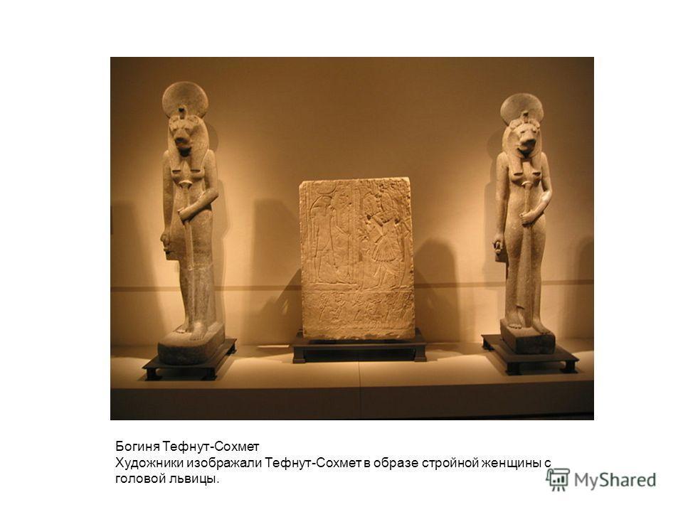 Богиня Тефнут-Сохмет Художники изображали Тефнут-Сохмет в образе стройной женщины с головой львицы.