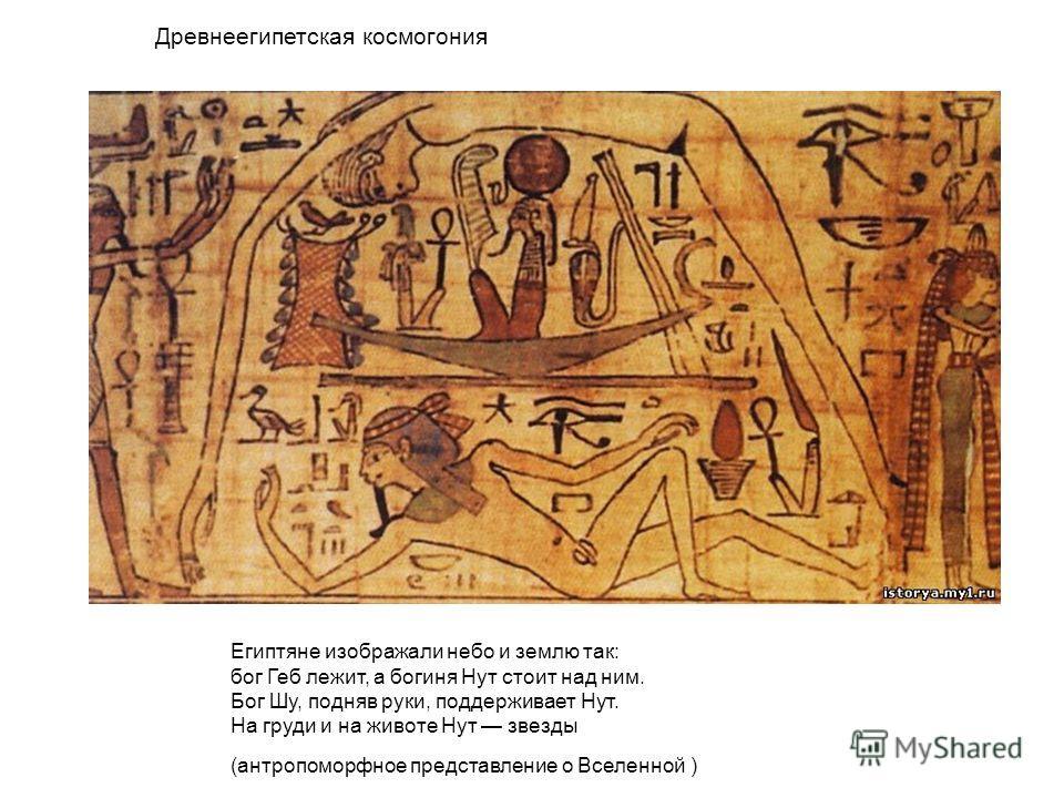 Египтяне изображали небо и землю так: бог Геб лежит, а богиня Нут стоит над ним. Бог Шу, подняв руки, поддерживает Нут. На груди и на животе Нут звезды (антропоморфное представление о Вселенной ) Древнеегипетская космогония