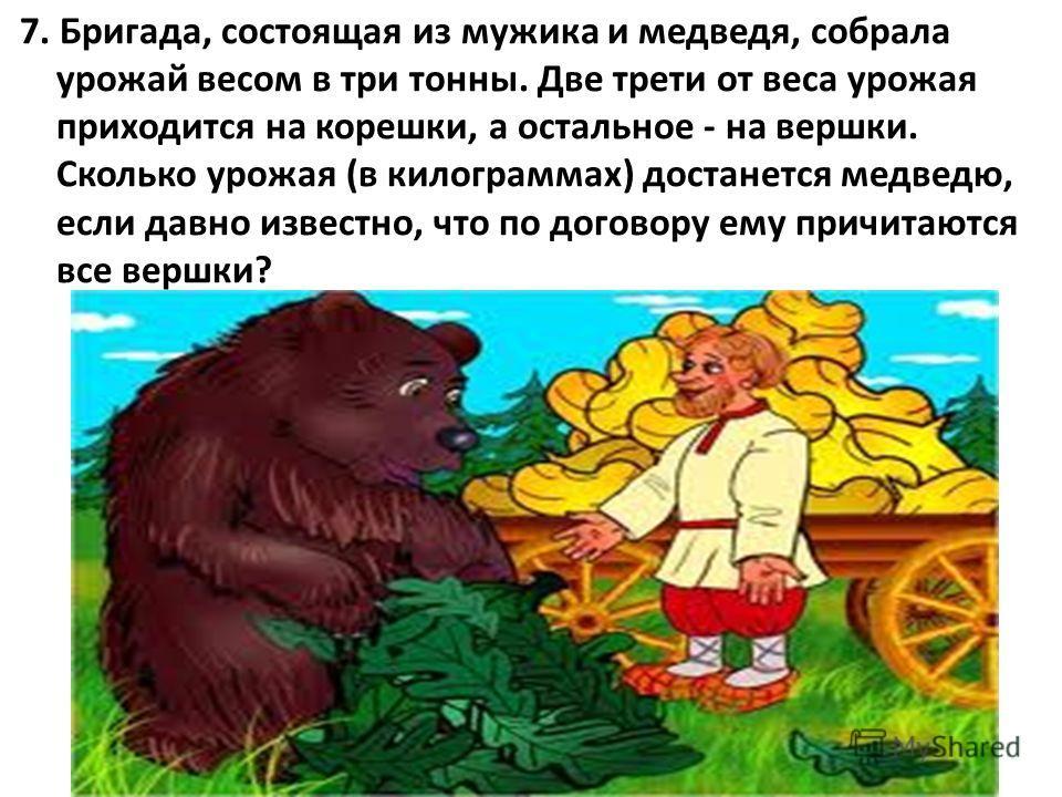 7. Бригада, состоящая из мужика и медведя, собрала урожай весом в три тонны. Две трети от веса урожая приходится на корешки, а остальное - на вершки. Сколько урожая (в килограммах) достанется медведю, если давно известно, что по договору ему причитаю