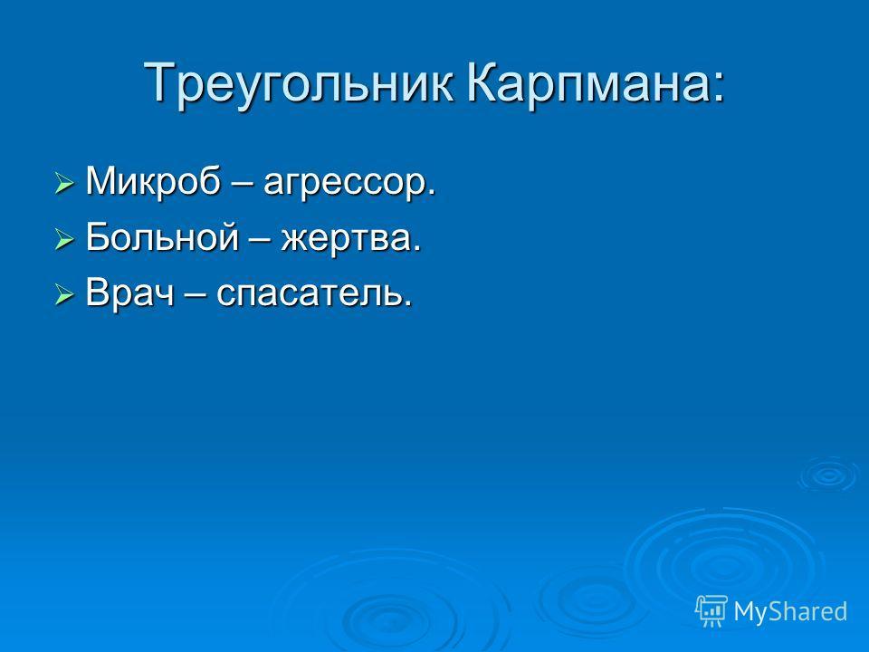 Треугольник Карпмана: Микроб – агрессор. Микроб – агрессор. Больной – жертва. Больной – жертва. Врач – спасатель. Врач – спасатель.