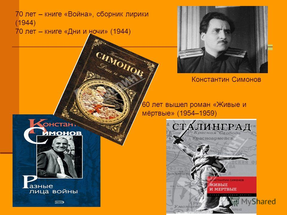 70 лет – книге «Война», сборник лирики (1944) 70 лет – книге «Дни и ночи» (1944) 60 лет вышел роман «Живые и мёртвые» (1954–1959) Константин Симонов