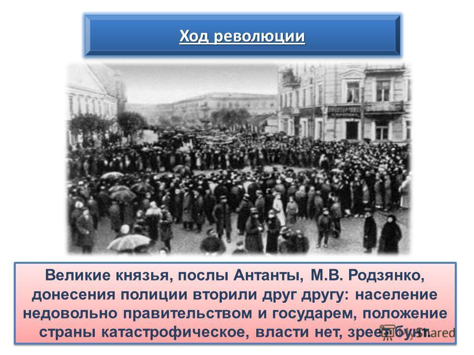Великие князья, послы Антанты, М.В. Родзянко, донесения полиции вторили друг другу: население недовольно правительством и государем, положение страны катастрофическое, власти нет, зреет бунт. Ход революции