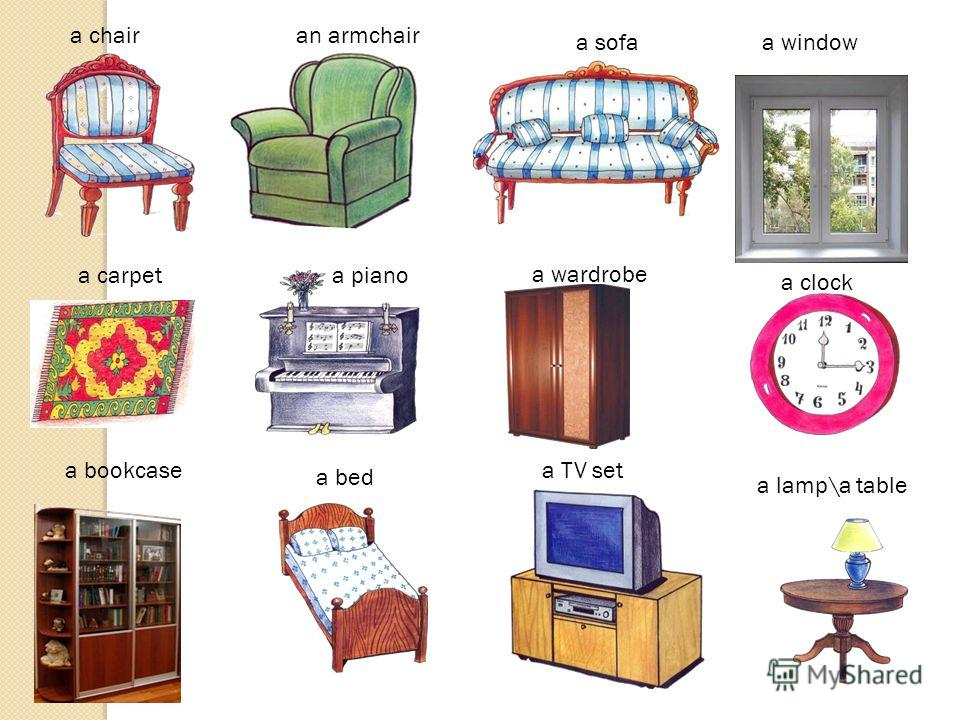 a chairan armchair a sofaa window a carpeta piano a clock a bed a lamp\a table a TV set a wardrobe a bookcase