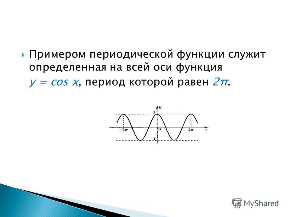 Примером периодической функции служит определенная на всей оси функция у = cos x, период которой равен 2π.