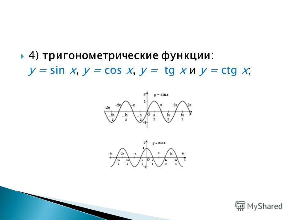 4) тригонометрические функции: у = sin х, у = cos x, у = tg x и у = ctg x;