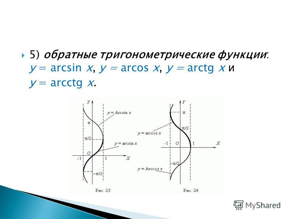 5) обратные тригонометрические функции: у = arcsin х, у = arcos х, у = arctg х и у = arcctg х.