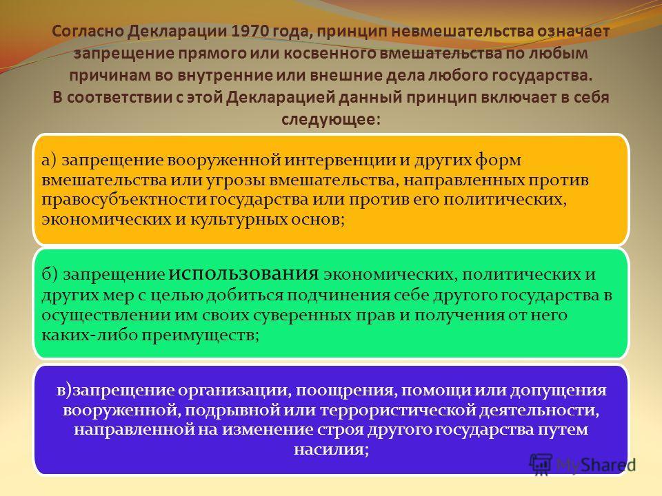 Принцип невмешательства закреплен в Декларации принципов Заключительного акта Совещания по безопасности и сотрудничеству в Европе 1975 года; в таких актах ООН, как Декларация принципов международного права 1970 года, Декларация о недопустимости интер