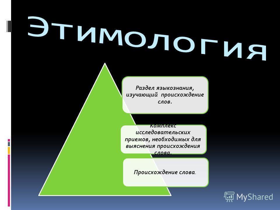 Раздел языкознания, изучающий происхождение слов. Комплекс исследовательских приемов, необходимых для выяснения происхождения слова. Происхождение слова.