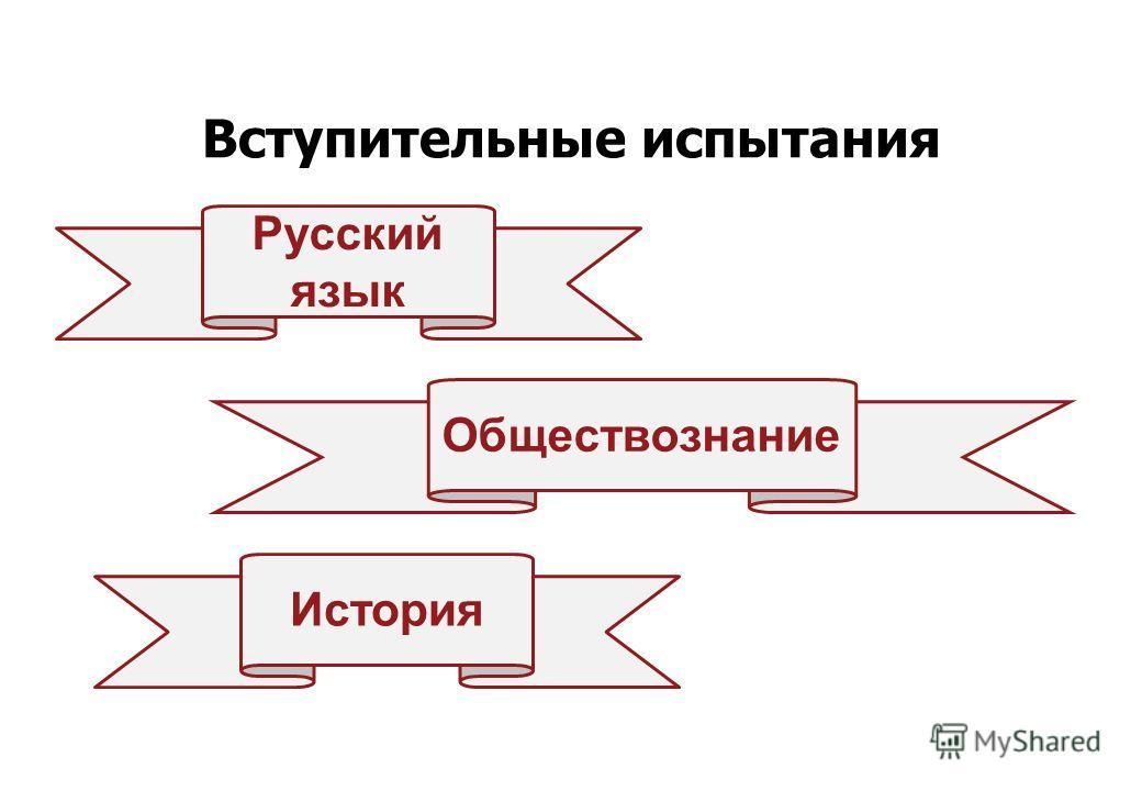 Вступительные испытания Русский язык Обществознание История