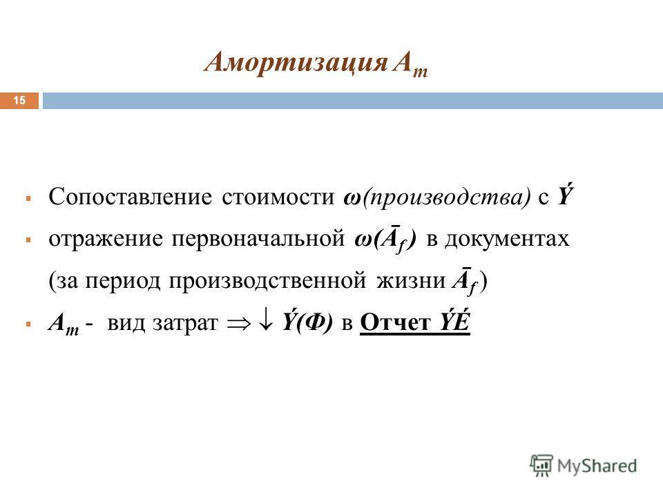 Амортизация A m 15 Сопоставление стоимости ω(производства) с Ý отражение первоначальной ω(Ā f ) в документах (за период производственной жизни Ā f ) А m - вид затрат Ý(Ф) в Отчет ÝÉ