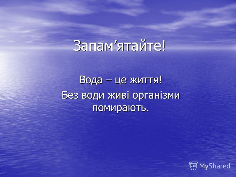 Запамятайте! Вода – це життя! Без води живі організми помирають.