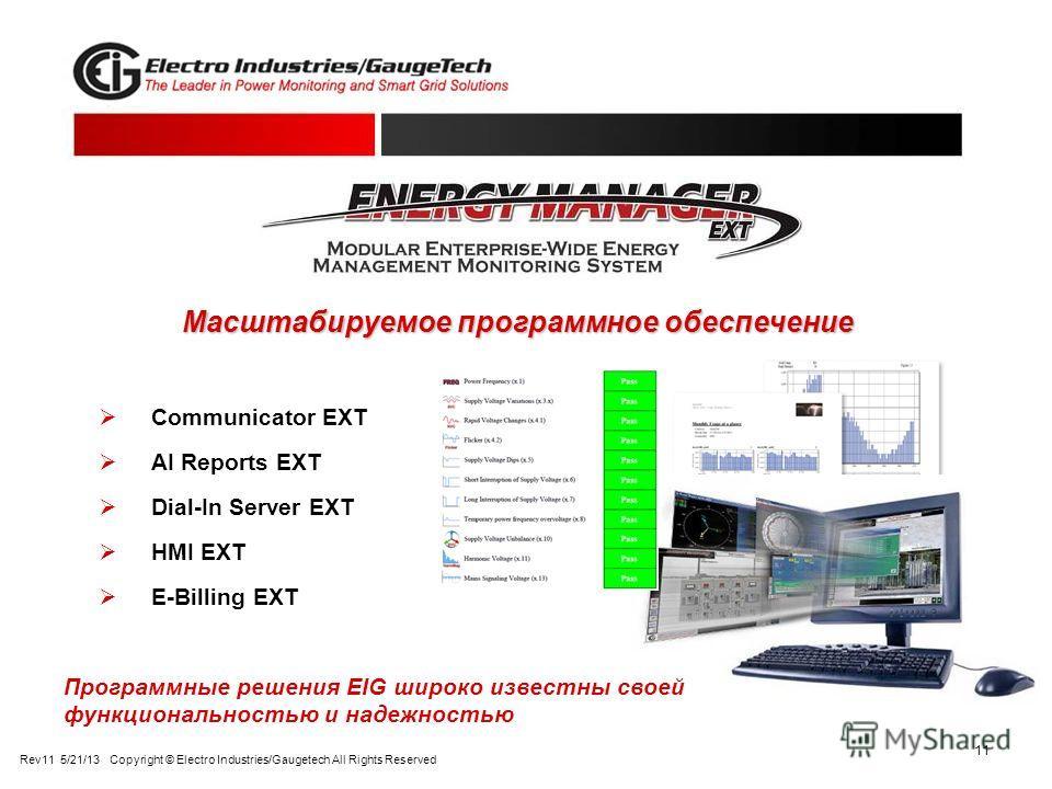 11 Communicator EXT AI Reports EXT Dial-In Server EXT HMI EXT E-Billing EXT Масштабируемое программное обеспечение Программные решения EIG широко известны своей функциональностью и надежностью Rev11 5/21/13 Copyright © Electro Industries/Gaugetech Al