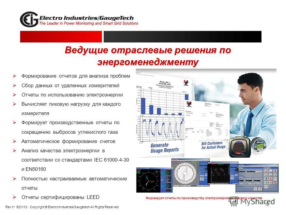 12 Ведущие отраслевые решения по энергоменеджменту Формирование отчетов для анализа проблем Сбор данных от удаленных измерителей Отчеты по использованию электроэнергии Вычисляет пиковую нагрузку для каждого измерителя Формирует производственные отчет