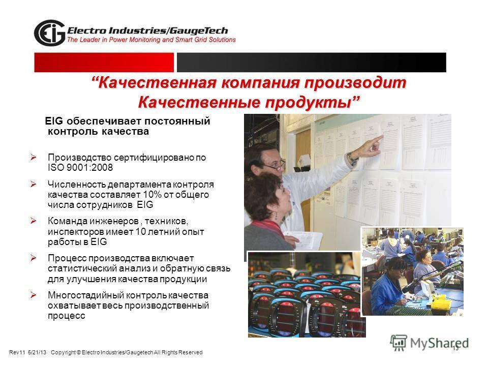 13 Качественная компания производит Качественные продуктыКачественная компания производит Качественные продукты EIG обеспечивает постоянный контроль качества Производство сертифицировано по ISO 9001:2008 Численность департамента контроля качества сос