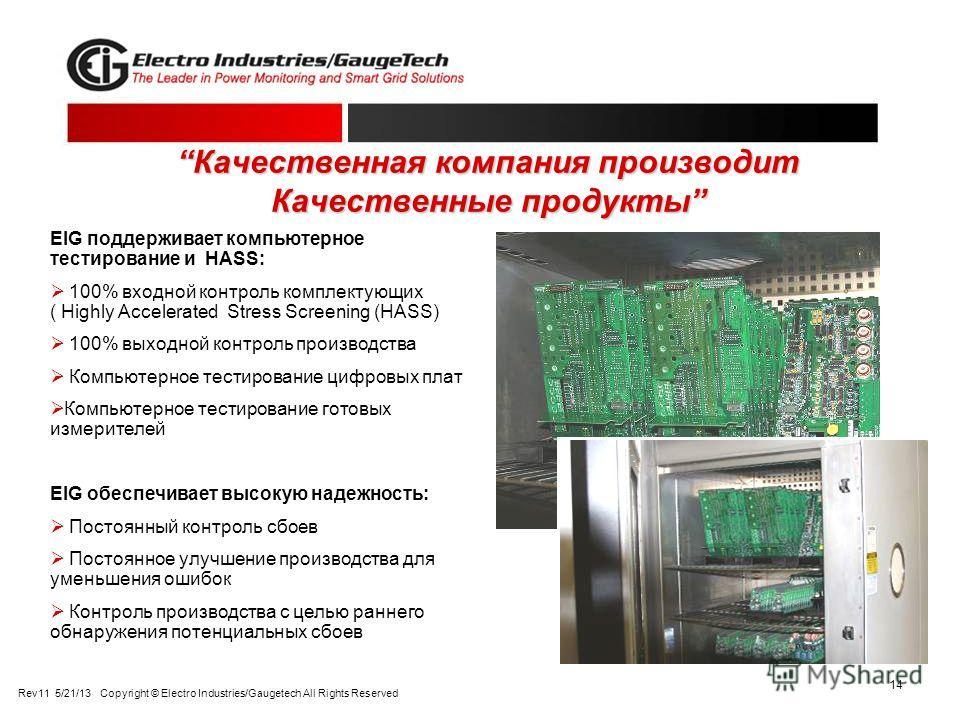 14 Качественная компания производит Качественные продуктыКачественная компания производит Качественные продукты EIG поддерживает компьютерное тестирование и HASS: 100% входной контроль комплектующих ( Highly Accelerated Stress Screening (HASS) 100% в