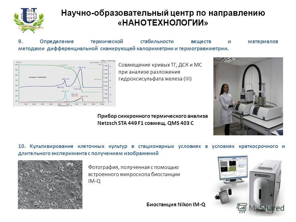 Научно-образовательный центр по направлению «НАНОТЕХНОЛОГИИ» 9. Определение термической стабильности веществ и материалов методами дифференциальной сканирующей калориметрии и термогравиметрии. Совмещение кривых ТГ, ДСК и МС при анализе разложения гид