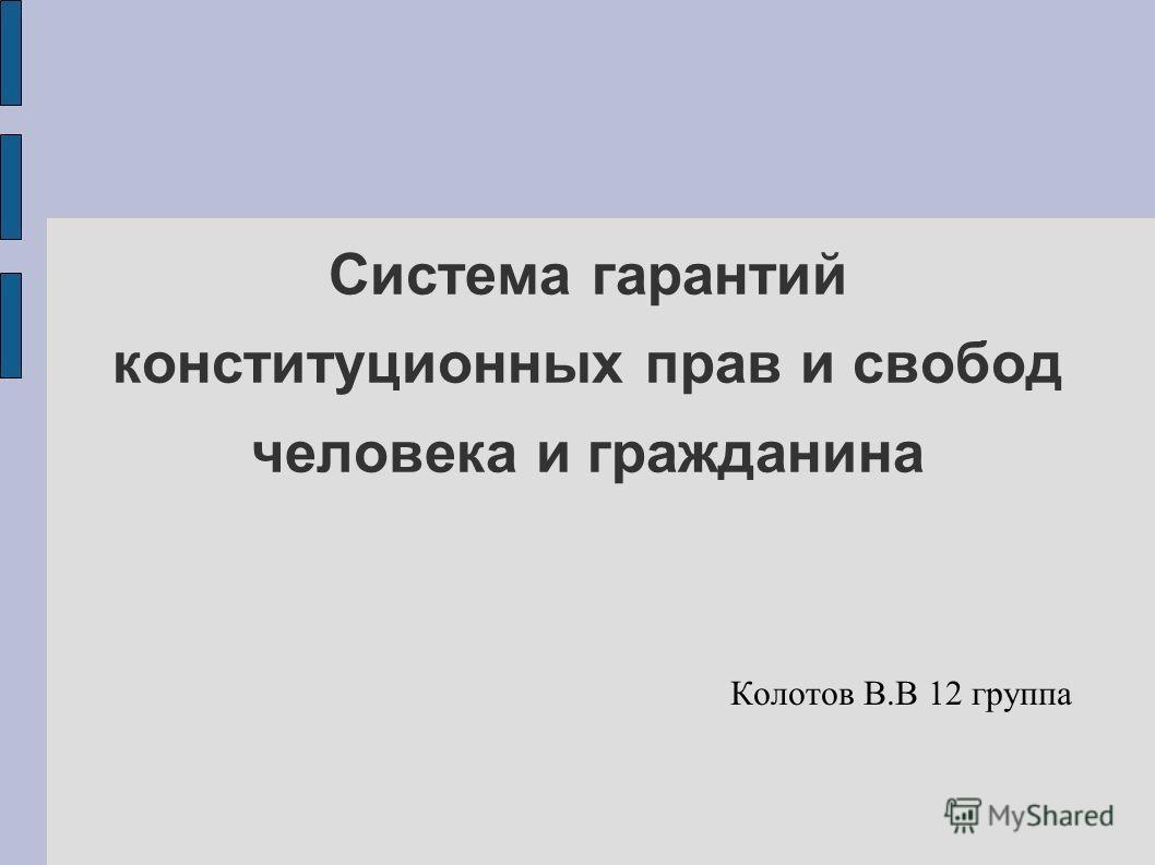 Система гарантий конституционных прав и свобод человека и гражданина Колотов В.В 12 группа
