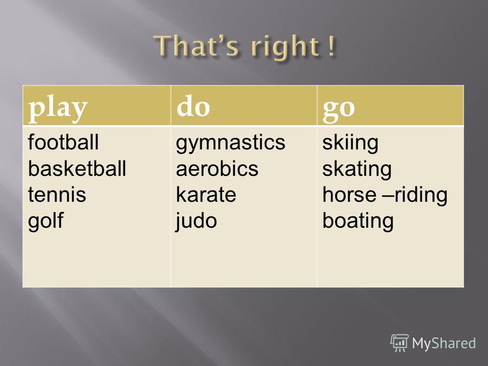 playdogo football basketball tennis golf gymnastics aerobics karate judo skiing skating horse –riding boating