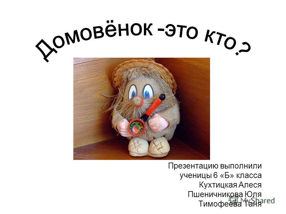 Презентацию выполнили ученицы 6 «Б» класса Кухтицкая Алеся Пшеничникова Юля Тимофеева Таня Домовёнок