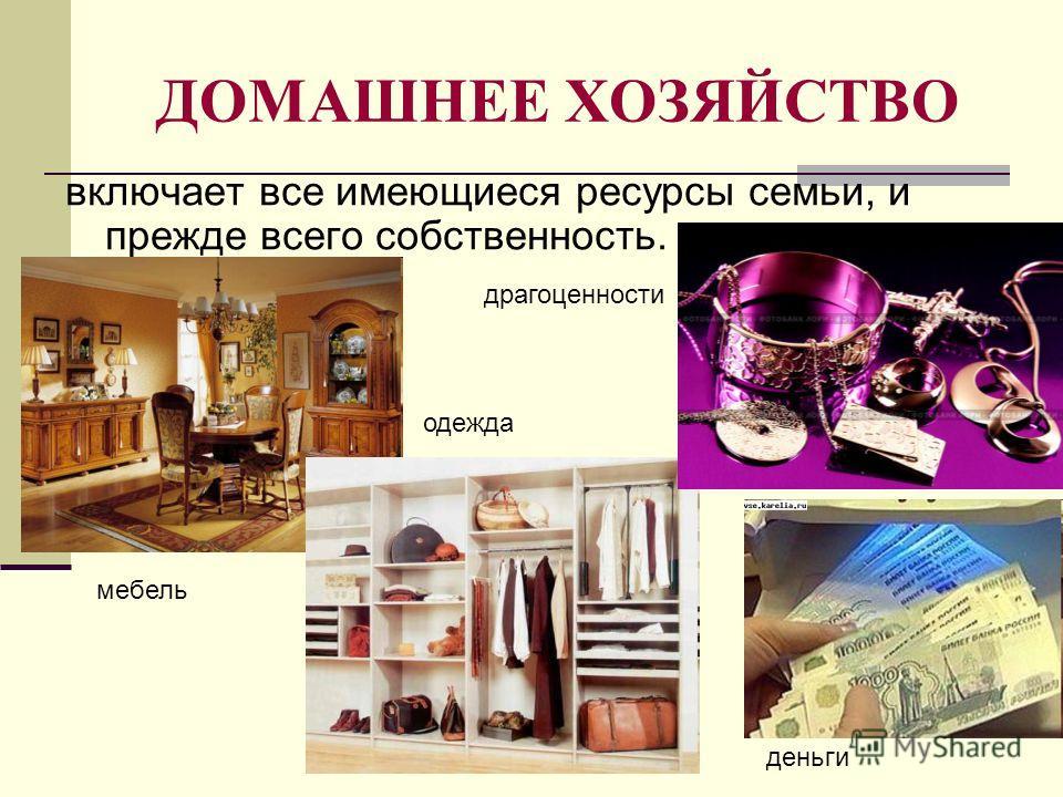 ДОМАШНЕЕ ХОЗЯЙСТВО включает все имеющиеся ресурсы семьи, и прежде всего собственность. мебель одежда драгоценности деньги