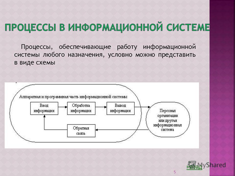 5 Процессы, обеспечивающие работу информационной системы любого назначения, условно можно представить в виде схемы назад