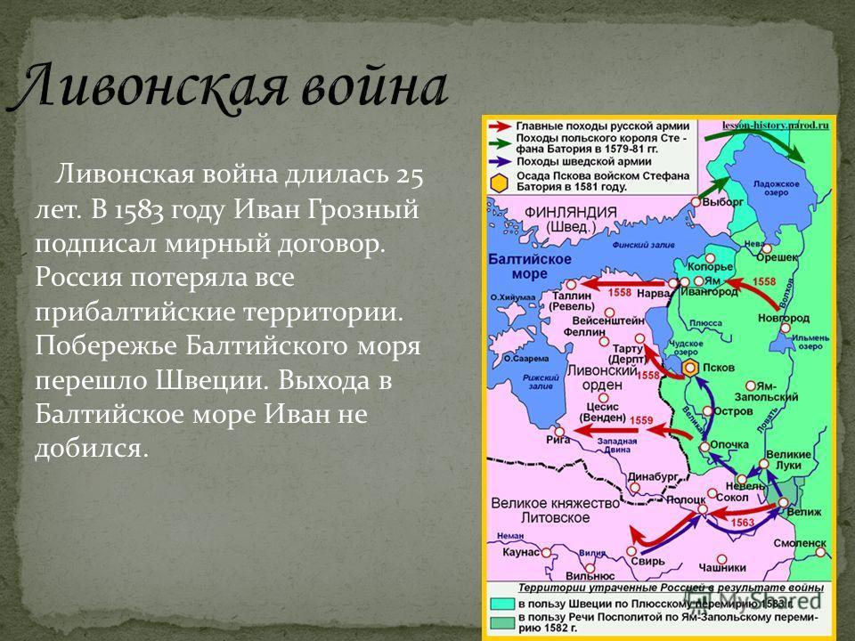 Ливонская война длилась 25 лет. В 1583 году Иван Грозный подписал мирный договор. Россия потеряла все прибалтийские территории. Побережье Балтийского моря перешло Швеции. Выхода в Балтийское море Иван не добился.