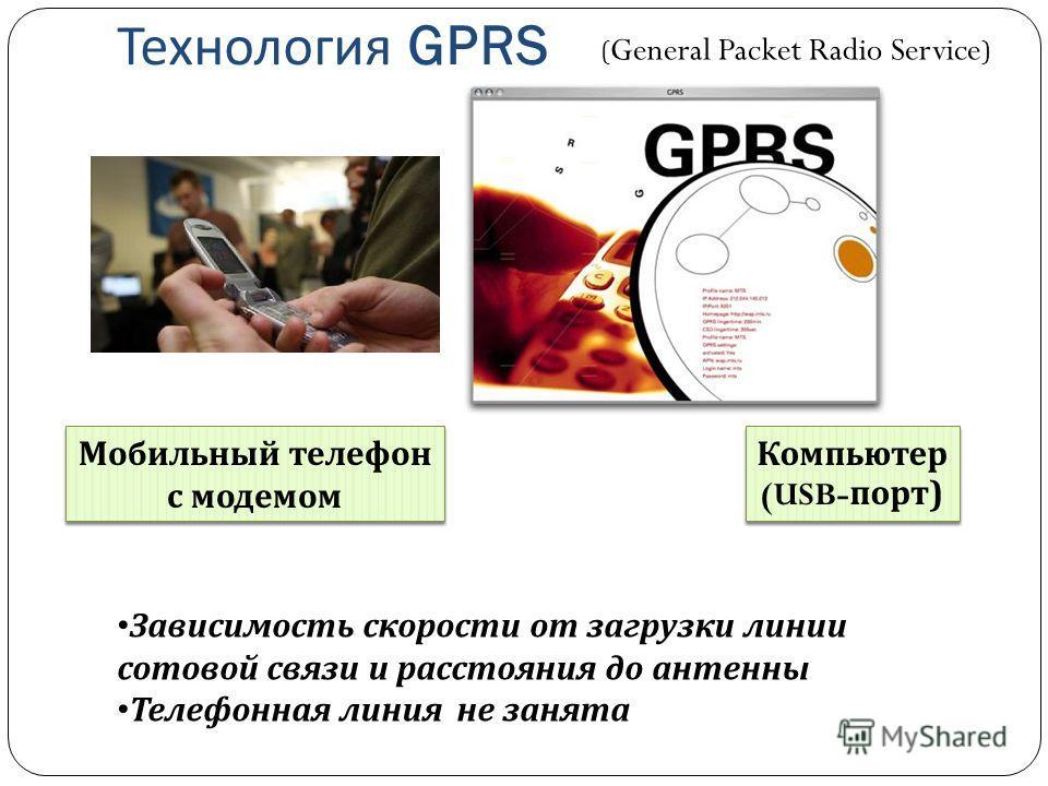 Технология GPRS Мобильный телефон с модемом Компьютер (USB- порт ) Зависимость скорости от загрузки линии сотовой связи и расстояния до антенны Телефонная линия не занята ( General Packet Radio Service )